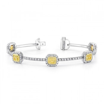Natureal Collection 18K White And Yellow Gold Pear Shaped Fancy Yellow Diamond Bracelet LBR105