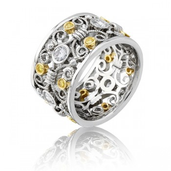Natureal Collection White & Yellow Diamonds Platinum and 18K Yellow Gold Band LVB050