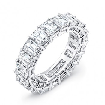 Uneek Emerald Cut Platinum Eternity Band LVB156
