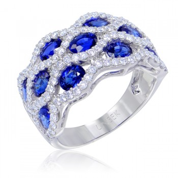Uneek Antique-Style Blue Sapphire and Diamond Band in 14K White Gold