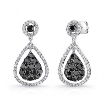 14K White Gold Black Pear Shaped Diamond Earrings LVE032BL