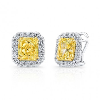 Uneek Natureal Fancy Yellow Radiant Diamond Earrings LVE273