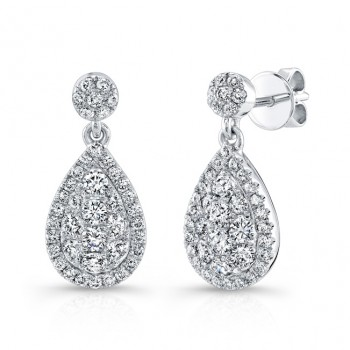 Bouquet Collection 14K White Gold Pear Shaped Diamond Dangle Earrings LVE294