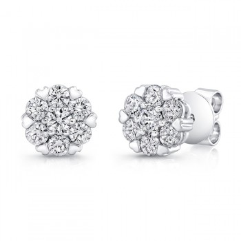 Petite Bouquet Collection 14K White Gold Diamond Earrings LVEJ08