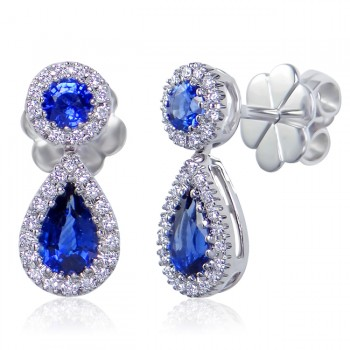 Uneek Vintage-Style Blue Sapphire Teardrop Earrings with Pave Diamond Halos, in 14K White Gold