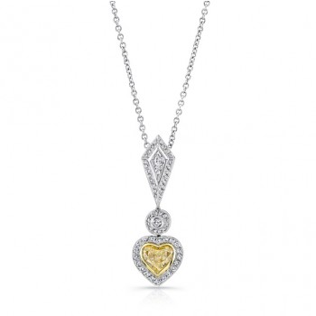 Natureal Collection Platinum and 18K Yellow Gold Heart Shaped Fancy Yellow Pendant LVN351