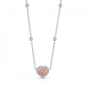 Natureal Collection 18K White and Rose Gold Heart Shaped Fancy Pink Pendant LVN540