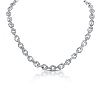 Uneek Classic Diamond Pave Link Necklace, in 18K White Gold