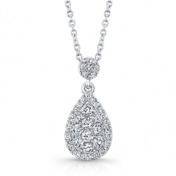 Bouquet Collection Diamond and 14K White Gold Pear Shaped Pendant LVN660