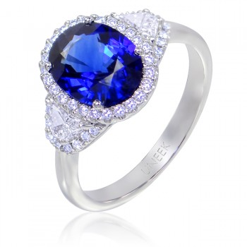 Uneek Three-Stone Oval Blue Sapphire and Trap Cut Diamond Halo Ring in 14K White Gold