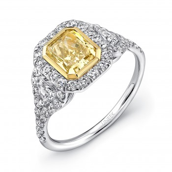 Natureal Collection 18K White and Yellow Gold Radiant-Cut Fancy Yellow Diamond Engagement Ring LVS59