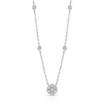 14K White Gold Shared Prong Diamond Necklace NEK132