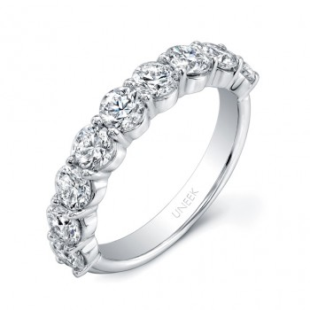 Uneek 9-Diamond Shared-Prong Wedding Band with Scalloped Edges, in 14K White Gold