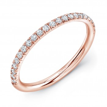 Uneek Silhouette Pave Diamond Wedding Band in 14K Rose Gold